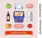 tasty food flat icon set. bag... | Shutterstock .eps vector #192040598