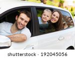 family sitting in the car... | Shutterstock . vector #192045056