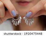 Round Dangling Silver Earrings...