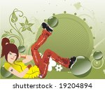 girl listening music on floral... | Shutterstock .eps vector #19204894