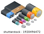 isometric alkaline battery ... | Shutterstock .eps vector #1920496472