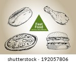 fast food set. hand drawn... | Shutterstock .eps vector #192057806