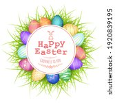happy easter font in circular... | Shutterstock .eps vector #1920839195