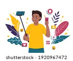 a man takes a selfie with a... | Shutterstock .eps vector #1920967472