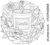 candle with roses.coloring book ... | Shutterstock .eps vector #1920968888