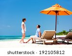 romantic couple on a tropical... | Shutterstock . vector #192105812
