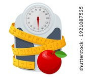 bathroom scales  red apple and... | Shutterstock .eps vector #1921087535