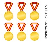golden medals with ribbons | Shutterstock . vector #192111122