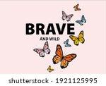 monarch butterflies daisies... | Shutterstock .eps vector #1921125995