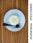 white rice served on a plate...   Shutterstock . vector #1921152605