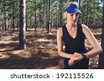 woman runner checking pace on... | Shutterstock . vector #192115526