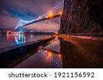 Lions Gate Bridge In Night Views