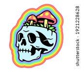 skull and mushrooms rainbow... | Shutterstock .eps vector #1921228628