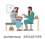 vaccination in clinic or...   Shutterstock .eps vector #1921337195