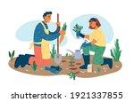 man and woman gardening plants... | Shutterstock .eps vector #1921337855