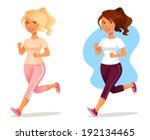 cute cartoon girl jogging   Shutterstock .eps vector #192134465