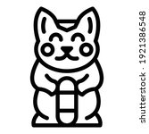 Cat Statuette Icon. Outline Cat ...