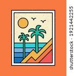 line style vector surfing badge ... | Shutterstock .eps vector #1921442255