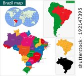 colorful brazil map with states ... | Shutterstock .eps vector #192147395