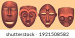 primitive ritual masks of... | Shutterstock .eps vector #1921508582