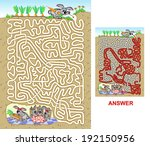 Rabbit maze for kids. Will you find a way through the maze which is used to carry the carrot into the burrow? - stock vector