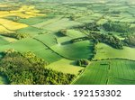 Aerial photography of green fields in English countryside