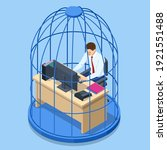isometric business man working... | Shutterstock .eps vector #1921551488