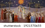 medieval scene. angels and... | Shutterstock .eps vector #1921570655