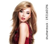 beautiful blond woman with long ... | Shutterstock . vector #192160196