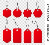 realistic red price tags...   Shutterstock .eps vector #1921614125
