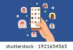 clubhouse audio chat. hand with ...   Shutterstock .eps vector #1921654565