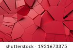 abstract 3d render  red cracked ... | Shutterstock . vector #1921673375