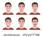 face expressions of handsome...   Shutterstock .eps vector #1921677788