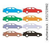 set of colorful car side view... | Shutterstock .eps vector #1921723982