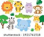 vector illustration of safari... | Shutterstock .eps vector #1921761518