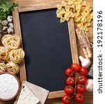 italian food on vintage wood... | Shutterstock . vector #192178196