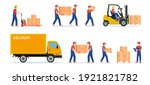 warehouse workers with parcels... | Shutterstock .eps vector #1921821782