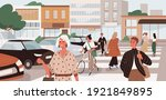 people crossing road at... | Shutterstock .eps vector #1921849895