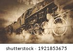 Old Locomotive With Steam....