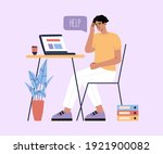 young man tired of hard working ...   Shutterstock .eps vector #1921900082