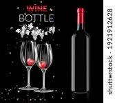 wine bottle and glasses with... | Shutterstock .eps vector #1921912628