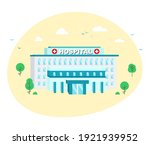 hospital building in flat style ... | Shutterstock .eps vector #1921939952
