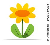 yellow flower cartoon vector... | Shutterstock .eps vector #1921959395