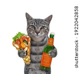 A Gray Cat Holds A Bottle Of...