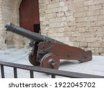 Old Cannon Over Stone Wall. Old ...