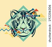 colorful portrait of a tiger.... | Shutterstock .eps vector #192206306