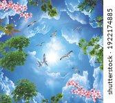 Sky And Flower 3d Ceiling Design