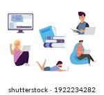 bundle of four students with... | Shutterstock .eps vector #1922234282