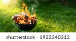 Barbecue Grill With Fire On...