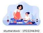 happy mom and daughter cooking... | Shutterstock .eps vector #1922246342